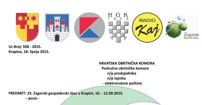 23. Zagorski gospodarski zbor u Krapini, 10. - 12.09.2015.