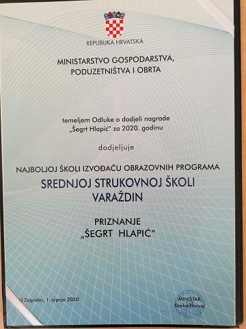 """Srednja strukovna škola Varaždin – dobitnik nagrade """"Šegrt Hlapić"""" za najbolju strukovnu školu u Hrvatskoj"""